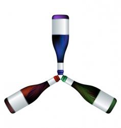 wine bottles trio vector image