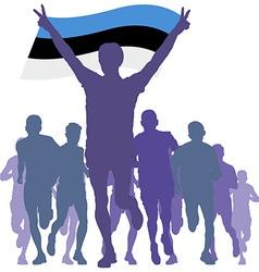 Winner with estonia flag at finish vector
