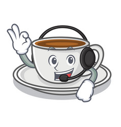 with headphone coffee character cartoon style vector image