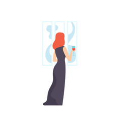 Woman in black dress looking at the painting vector