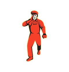 Worker marching shouting retro vector