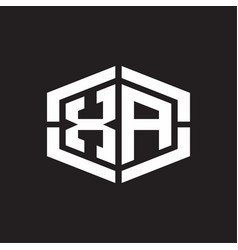 Xa logo monogram with hexagon shape and piece vector