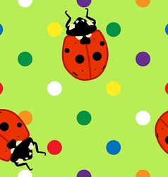 Seamless ladybugs over green background vector image vector image
