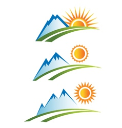 Set of Mountain with Sun vector image vector image