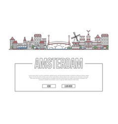 travel amsterdam poster in linear style vector image