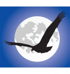 eagle silhoutte over moon vector image vector image