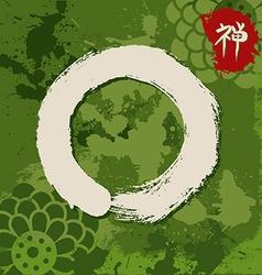 Green zen circle traditional enso vector image