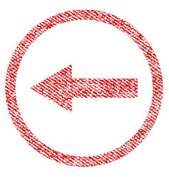 Left rounded arrow fabric textured icon vector
