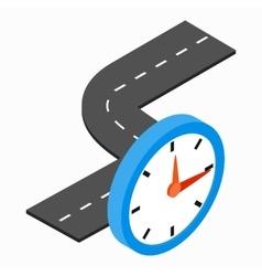 Road and clock icon isometric 3d style vector image