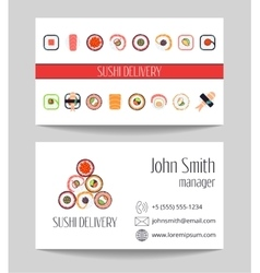 Sushi delivery business card template vector image vector image