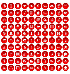 100 amusement icons set red vector