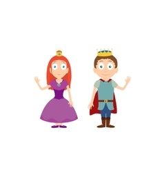 Cartoon characters of princess and prince isolated vector image