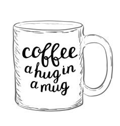 Coffee A hug in a mug Brush hand lettering vector image vector image
