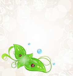 Eco friendly background with green leaves and vector image vector image
