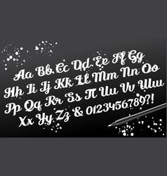 hand drawn brushpen calligraphic alphabet vector image