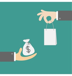 Hands with money and shopping bag Exchanging vector image vector image