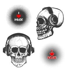 Set of the hand drawn skulls in headphones vector image vector image