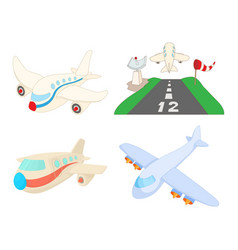 airbus icon set cartoon style vector image