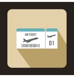 Airline boarding pass ticket icon flat style vector image vector image