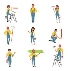 flat set of painters with equipment brush vector image