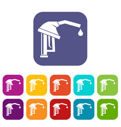 gasoline pump nozzle icons set vector image vector image