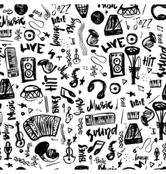Music symbols funny hand drawn seamless pattern vector image vector image