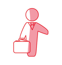 silhouette businessman with suit and briefcase vector image vector image