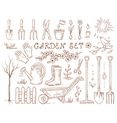 spring hand drawn garden tools set vector image