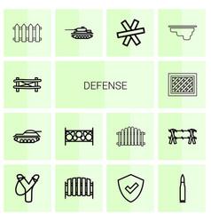 14 defense icons vector image