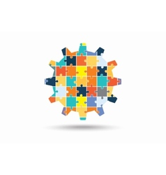 Abstract gear made of puzzle pieces vector image
