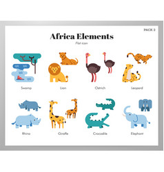 Africa elements flat pack vector