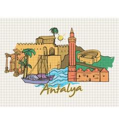 Antalya doodles vector