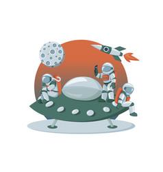 astronaut landing on an alien space ship vector image
