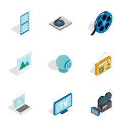 Audio and video icons isometric 3d style vector