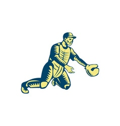 Baseball Catcher Catching Woodcut vector