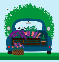 blue car with flowers vector image