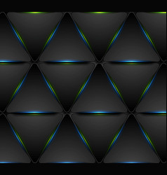 blue green glowing triangles tech pattern design vector image