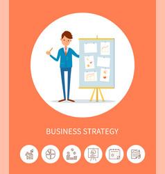 Business seminar businessman with presentation vector