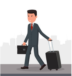businessman with luggage goes to the airport vector image