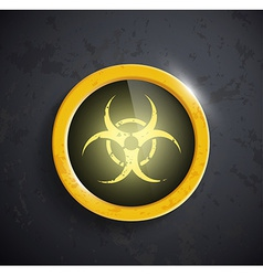 Button with the biohazard symbol vector