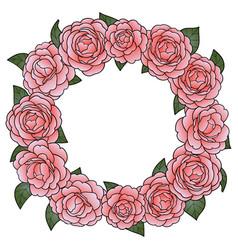 camellia round frame vector image