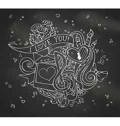 Chalk I Love You doodles on blackboard background vector