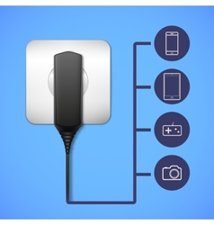 Charger into an electrical outlet vector