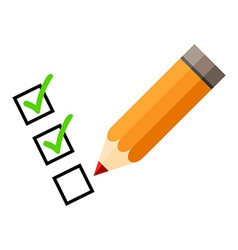 Checklist and red pencil tick icons check mark vector
