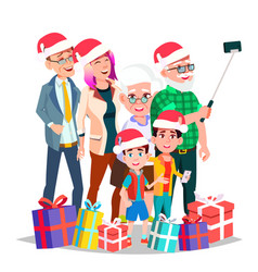 christmas family portrait big happy family vector image