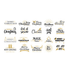 christmas greetings flat stickers set xmas vector image