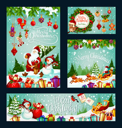 christmas holiday card of santa gift and snowman vector image