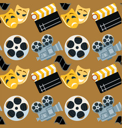Cinema genre cinematography seamless pattern vector