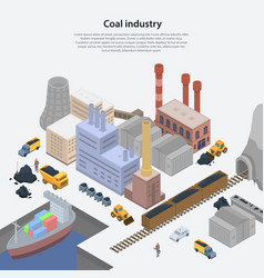 Coal industry plant concept background isometric vector