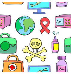 Collection of medical object doodles vector